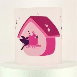 Applique nichoir oiseau rose