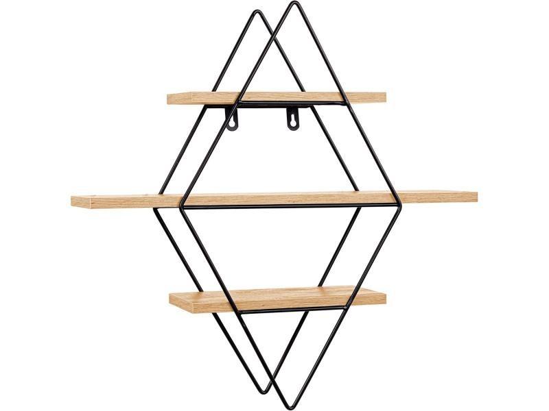 Stilista® étagère design losange, 48x47x11 cm, couleur bois clair, testée sans substances nocives, étagère murale, étagère flottante