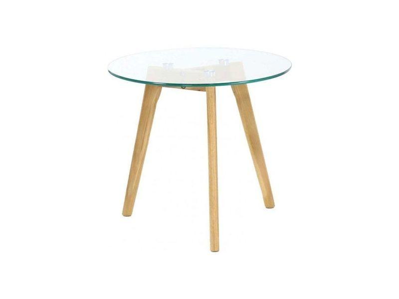 Table basse plateau en verre 50 cm
