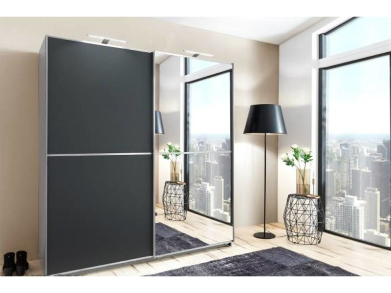 dressing portes coulissantes hendrix 180cm coloris gris anthracite avec 1 miroir 20100867130. Black Bedroom Furniture Sets. Home Design Ideas