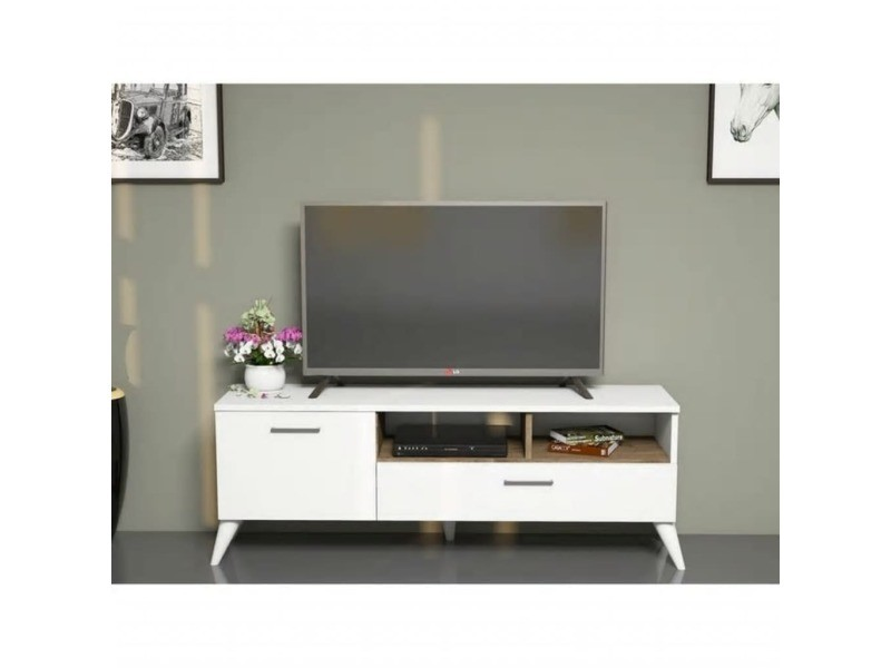 meuble tv scandinave sinba 120 x 48 cm blanc conforama. Black Bedroom Furniture Sets. Home Design Ideas