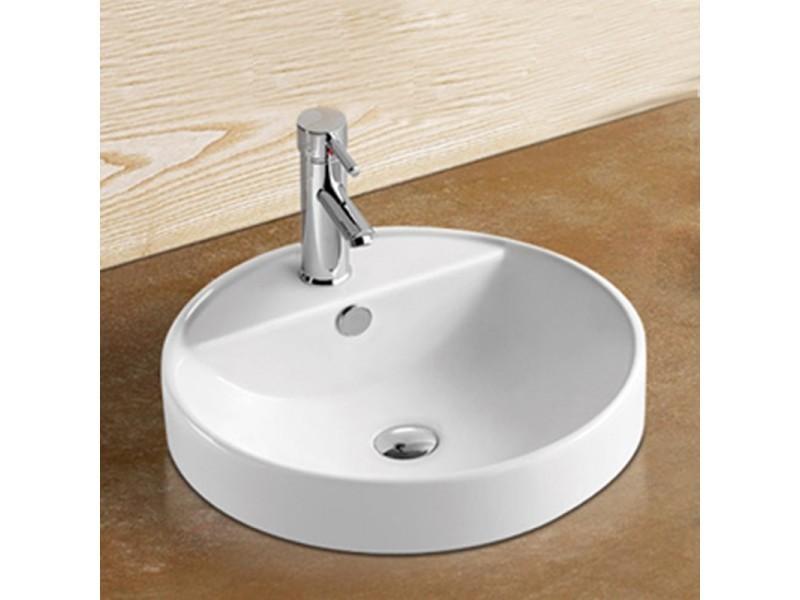 vasque semi encastrable ronde c ramique 46 cm ego vente de rue du bain conforama. Black Bedroom Furniture Sets. Home Design Ideas