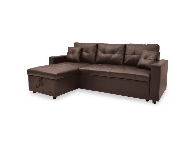 canap d 39 angle convertible cuero marron vente de canap d 39 angle conforama. Black Bedroom Furniture Sets. Home Design Ideas