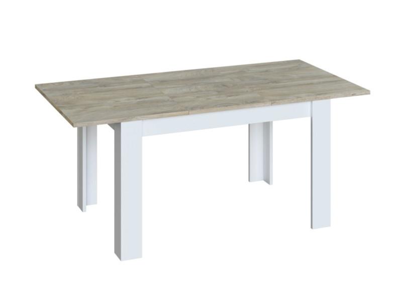 Table de salle à manger extensible coloris blanc artic / chêne à nœuds alaska - hauteur 78 x longueur 140-190 x profondeur 90 cm