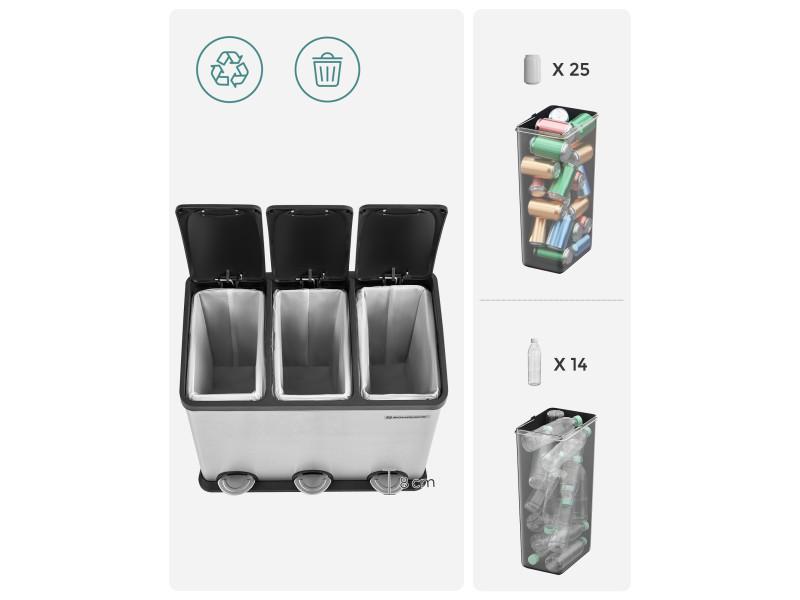 ... Poubelle De Cuisine Résistante Avec Pédales Et 3 Compartiments Tri  Sélectif De Recyclage En Inox 54l ...