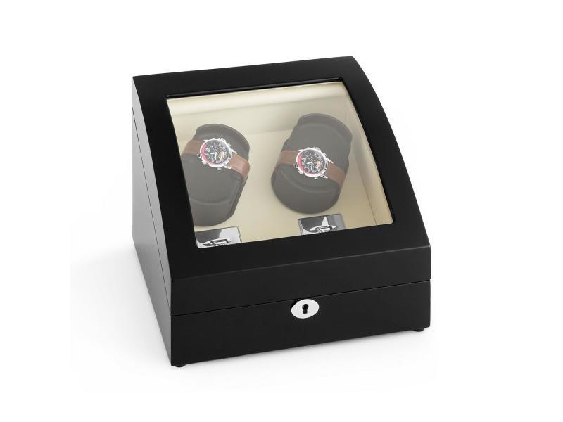 Klarstein matterhorn remontoir automatique pour 4 montres - 4 modes de rotation - vitrine design noir