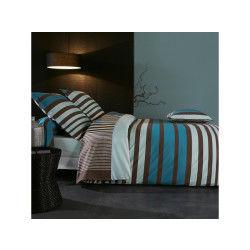 Parure de lit 140x200 cm percale pur coton stripe bleu
