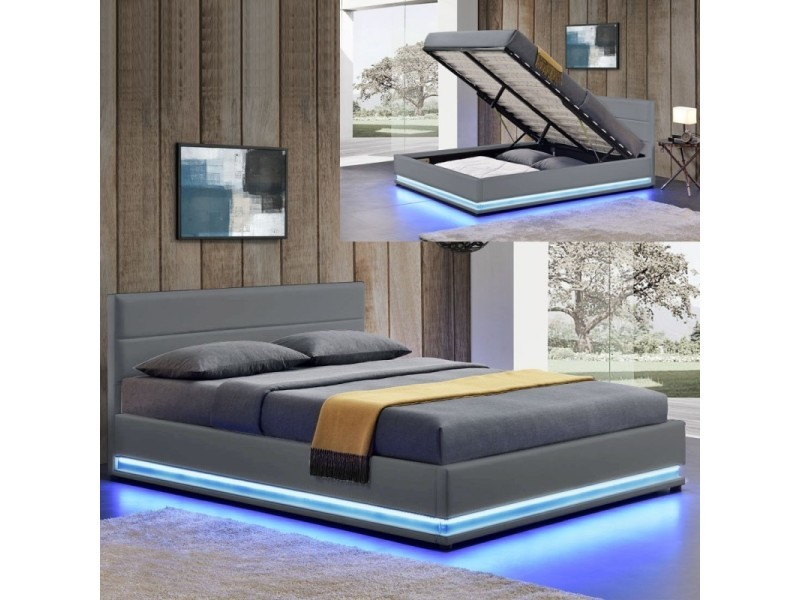 lit led avec coffre de rangement ava 180x200 gris vente de meubler design conforama. Black Bedroom Furniture Sets. Home Design Ideas