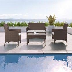 Imora - salon de jardin résine tressée marron foncé / ecru - ensemble 4 places - canapé + fauteuil + table