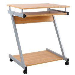 Bureau table meuble informatique avec tablette clavier bois foncé 0512004