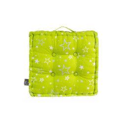 Coussin de sol vert 40 x 40 cm imprimé étoiles