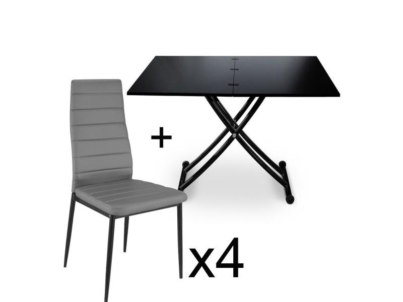 table basse relevable noir carbone et lot de 4 chaises