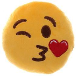 Coussin peluche emoji bisous