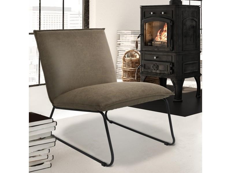 Chaise longue verte/noire, 85x63x76 cm, en microfibre de cuir brut 400010710