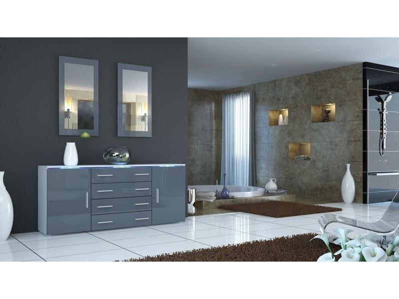 Buffet blanc et gris design façade laquée corps mat sans led 166 cm