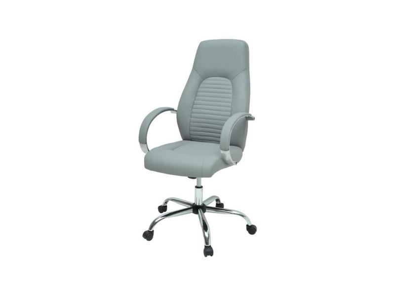 Flat chaise de bureau simili gris style industriel l 60 x p 47 cm vente de fauteuil de - Chaise bureau industriel ...