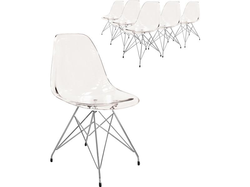 Lot De 6 Chaises Design En Acrylique Transparent Avec Pietement Chrome P 38184 Co C Brantley
