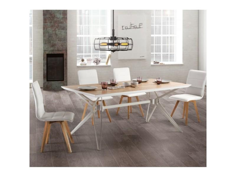Table de repas bois/métal - cogite - l 180 x l 90 x h 76 - neuf