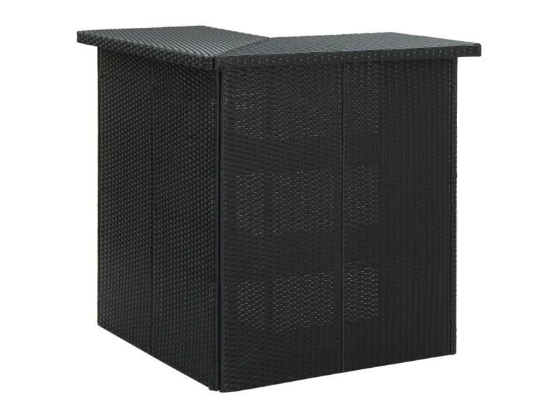 Vidaxl table d'angle de bar noir 100x50x105 cm résine tressée 313481