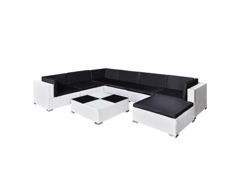 vidaxl jeu de mobilier de jardin 24 pcs blanc r sine tress e 41265 vente de vidaxl conforama. Black Bedroom Furniture Sets. Home Design Ideas