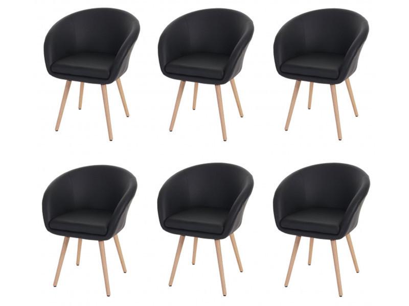 Lot de 6 chaises de salle à manger coloris noir en polyuréthane - dim : h 80 x de l 61 x p 56 cm -pegane-