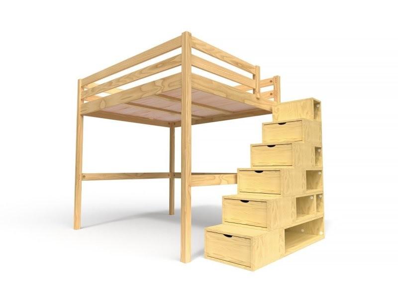 lit mezzanine sylvia avec escalier cube bois 160x200 miel