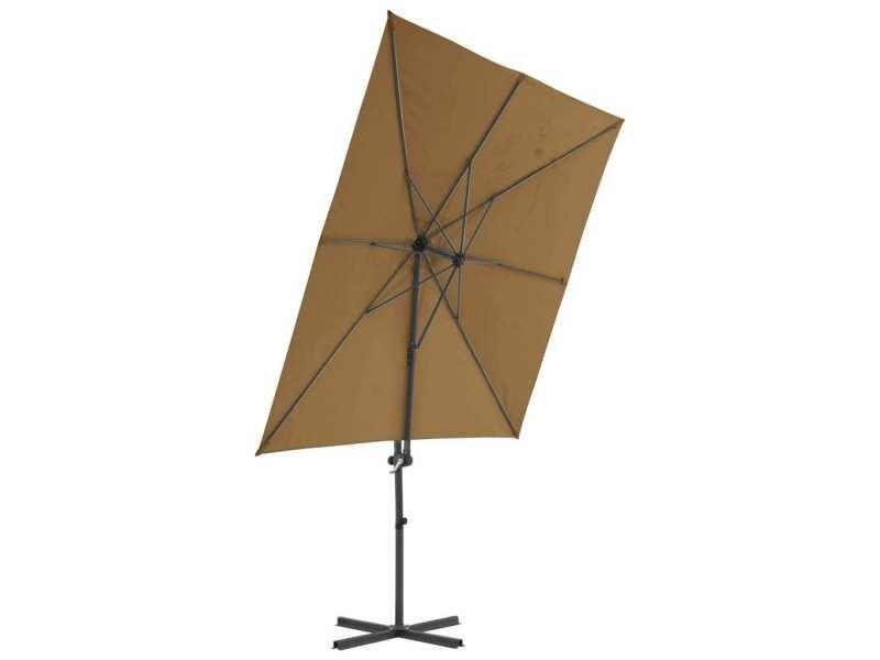 Vidaxl parasol avec base portable taupe 276338