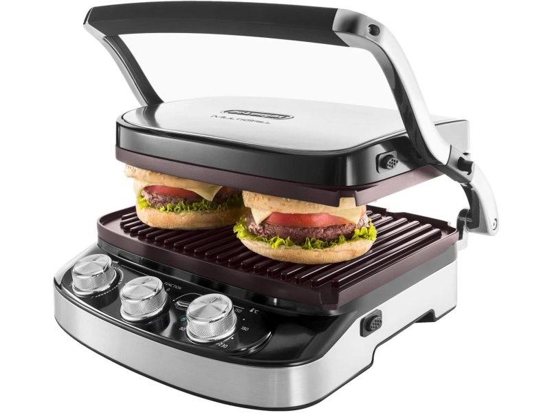 Grill viande électrique avec températures réglables 1500w noir argent