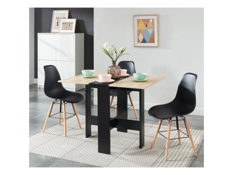 Table a manger seule juno table de séjour pliante 4 personnes - décor chene et noir - l 104 x 76 x 74 cm