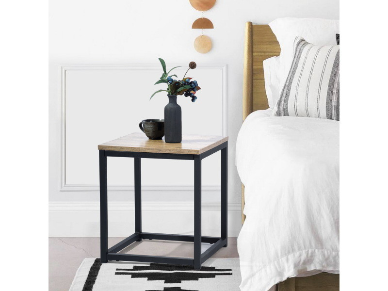 Table de bout carrée chêne / noir