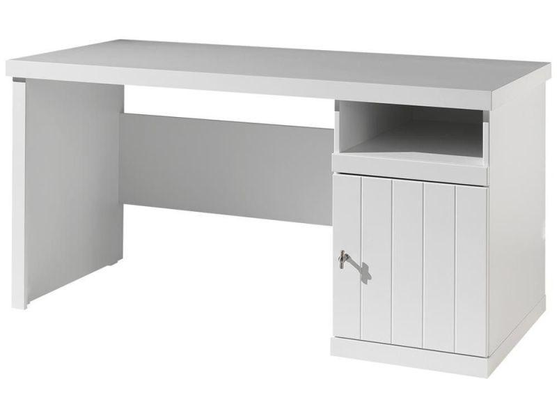 Bureau moderne cm en pin massif et mdf coloris blanc p