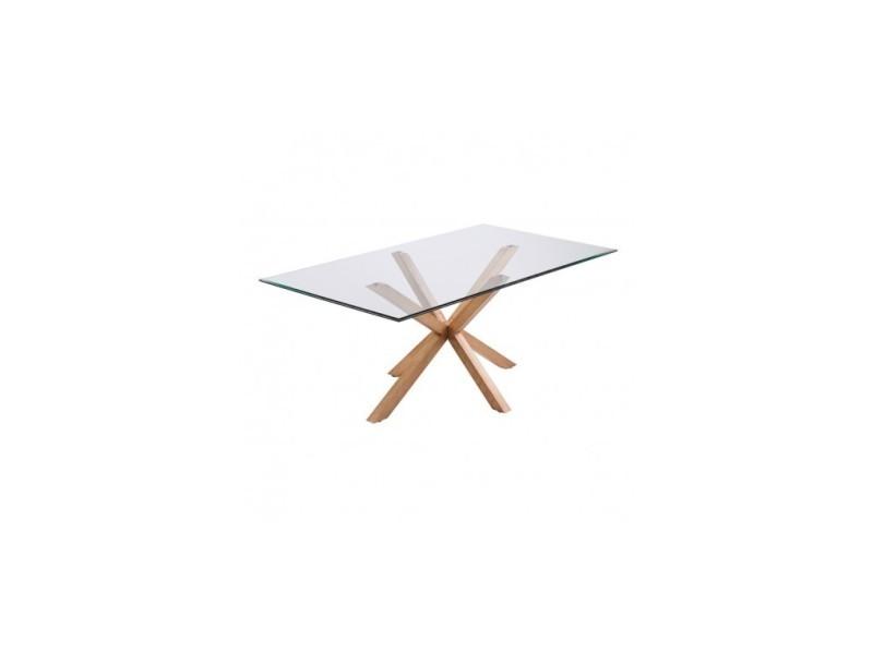 Table à manger rectangulaire 180 cm verre et bois idol
