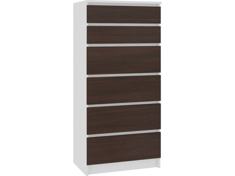 Skandi - commode contemporaine chambre + salon + bureau 130x60x40 cm - 6 tiroirs - meuble design moderne - chiffonier - blanc/wenge