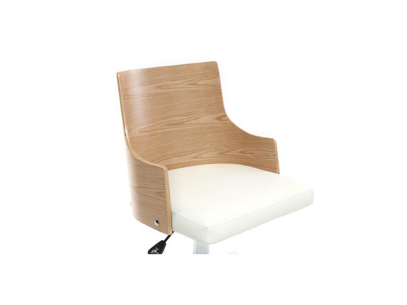Chaise de bureau design blanche et bois clair mayol vente de