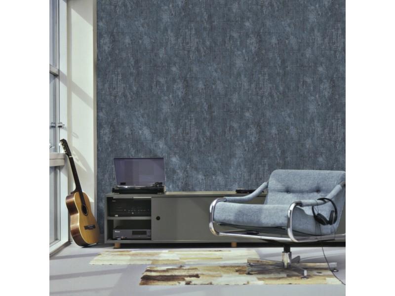 Papier peint intissé pierre béton 1005 x 52cm gris, bleu 101667