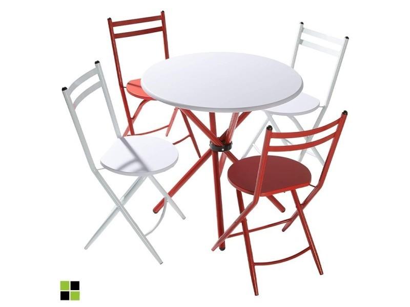 Momma home - Set MAYA formé par une table ronde avec plateau en MDF blanc et pieds metalliques laqués rouge et 4 chaises pliables métalliques, 2 rouges et 2 blanches. MOMMA HOME