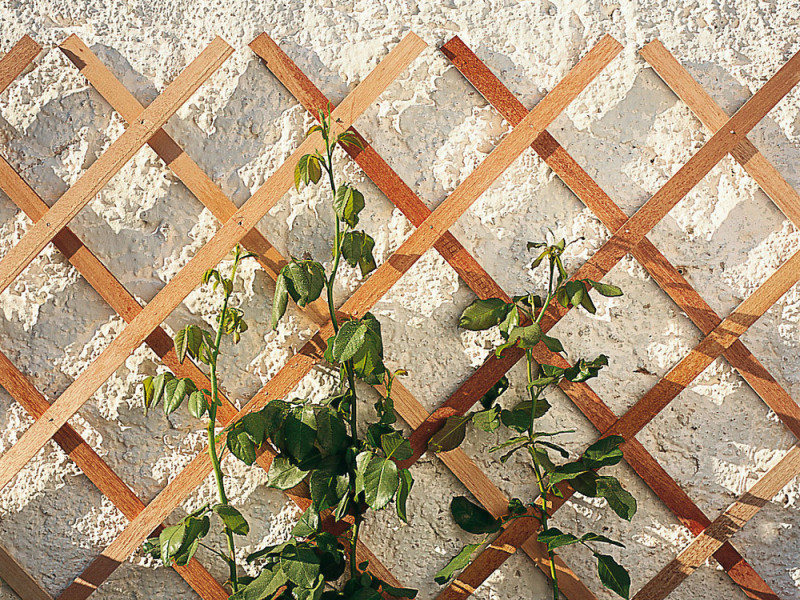 Treillis extensible en bois naturel l.45 x_l.180 cm_marron