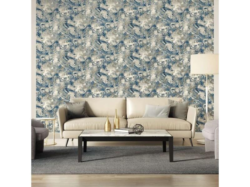 Dutch wallcoverings papier peint marbre gris et bleu 426231