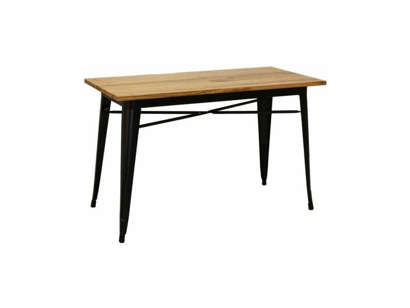Table industrielle en métal et bois d'orme huilé noir