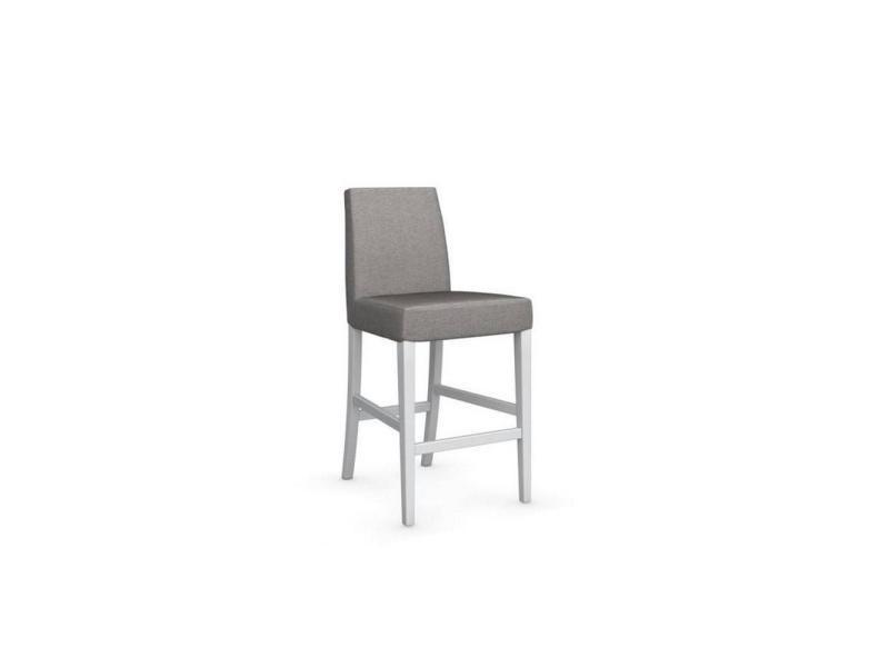 Chaise de bar latina piétement hêtre laqué blanc assise tissu corde 20100839336
