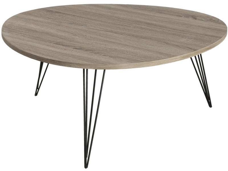 Table Basse Ronde 90 X 90 Cm Pieds Métal Avec Plateau En Bois Mdf