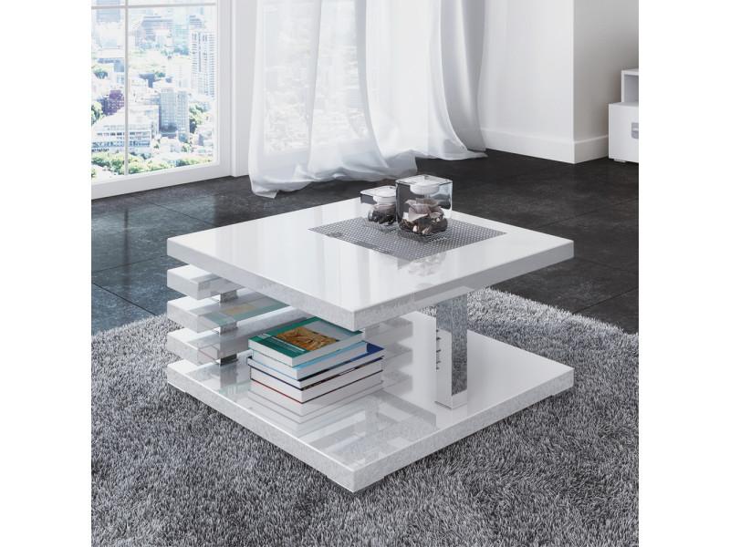 Table basse design - ariene - 60x60 cm - blanc brillant