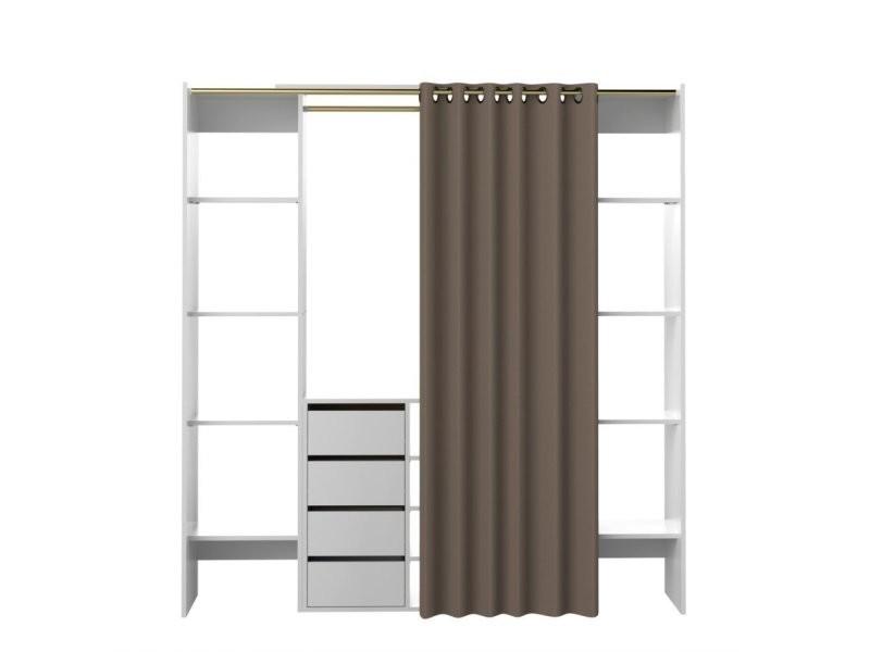 dressing extensible chica 2 colonnes 4 tiroirs blanc avec rideau taupe 20100848319 vente de. Black Bedroom Furniture Sets. Home Design Ideas