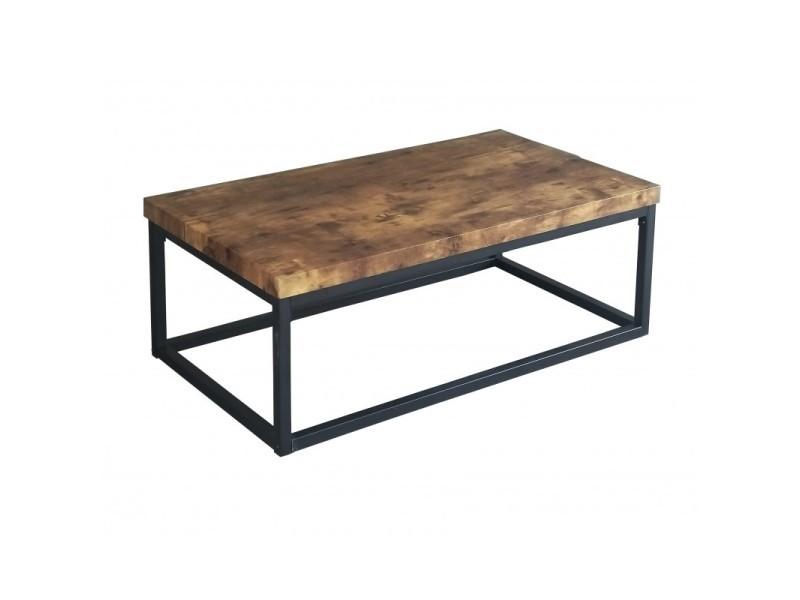 Table basse arizona plateau en bois foncé, pieds en acier. Idéal pour votre salon.