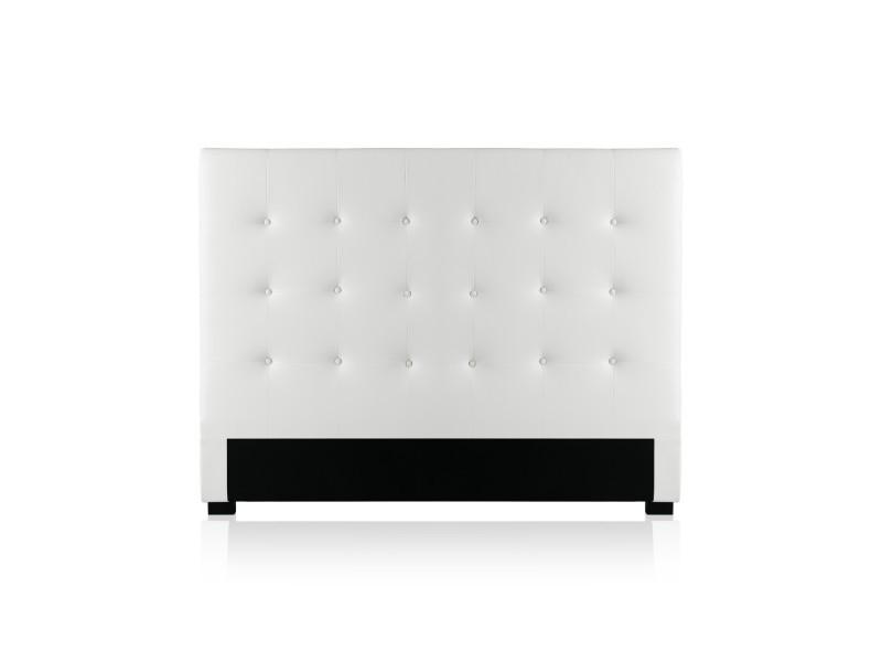 Tête de lit capitonnée premium 140cm blanc
