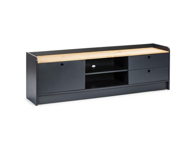 Carla - meuble tv 1 porte coul. 2 tiroirs bois et gris foncé