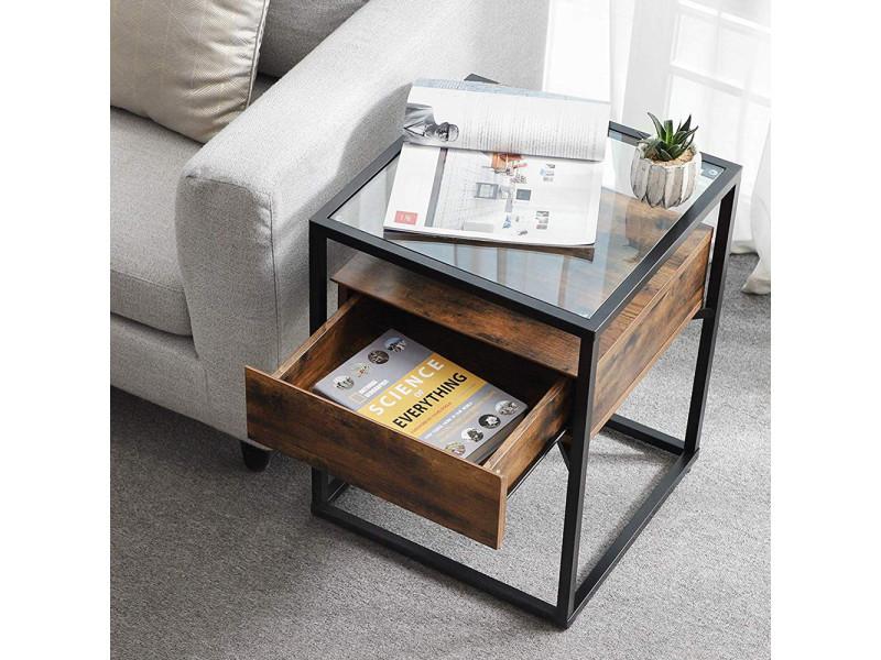 Table de café / bout de canapé - ramizu - effet bois foncé / noir