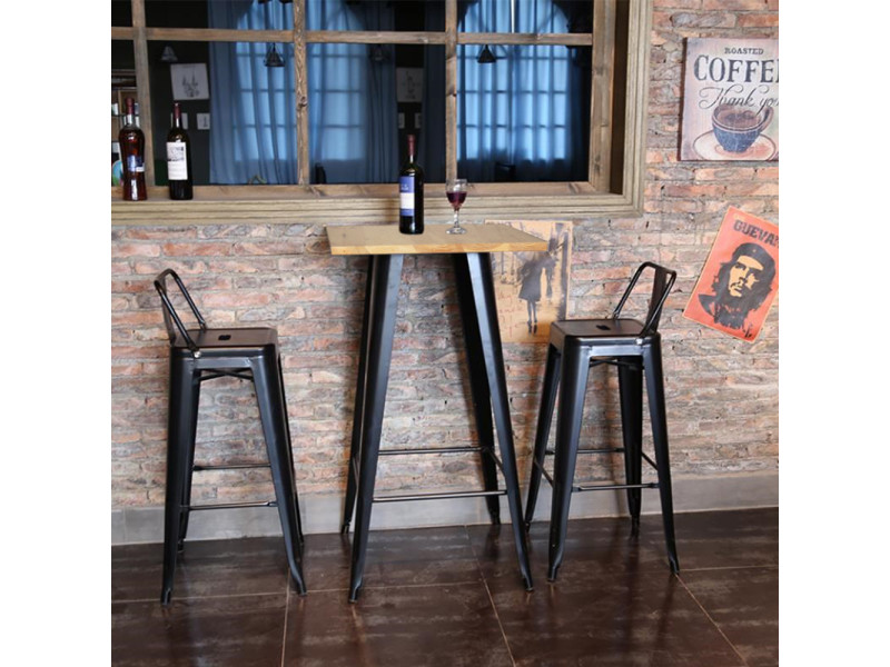 Hombuy® ensemble de table de bar couleur bois et 4 tabourets de bar gris style industriel pour bistrot, cuisine, jardin, restaurant