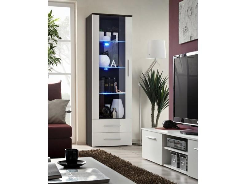 Vitrine neo i design, coloris wengé et blanc brillant, tiroirs blancs brillants + led.