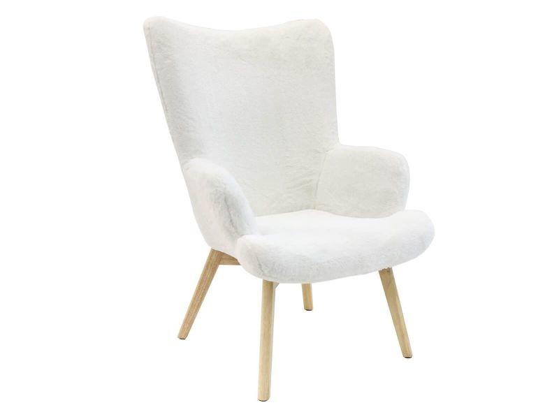 Cocoon - fauteuil blanc imitation fourrure pieds bois